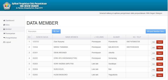 Halaman Data Member (Backend)