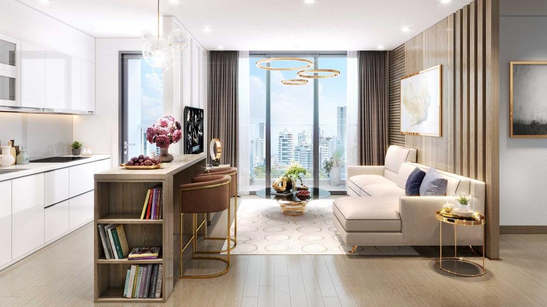 Phòng khách căn hộ cao cấp Imperia Eden Park Mễ Trì