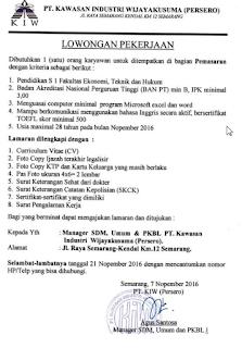 Lowongan Kerja BUMN Terbaru PT Kawasan Industri Wijayakusuma (Persero) Semarang
