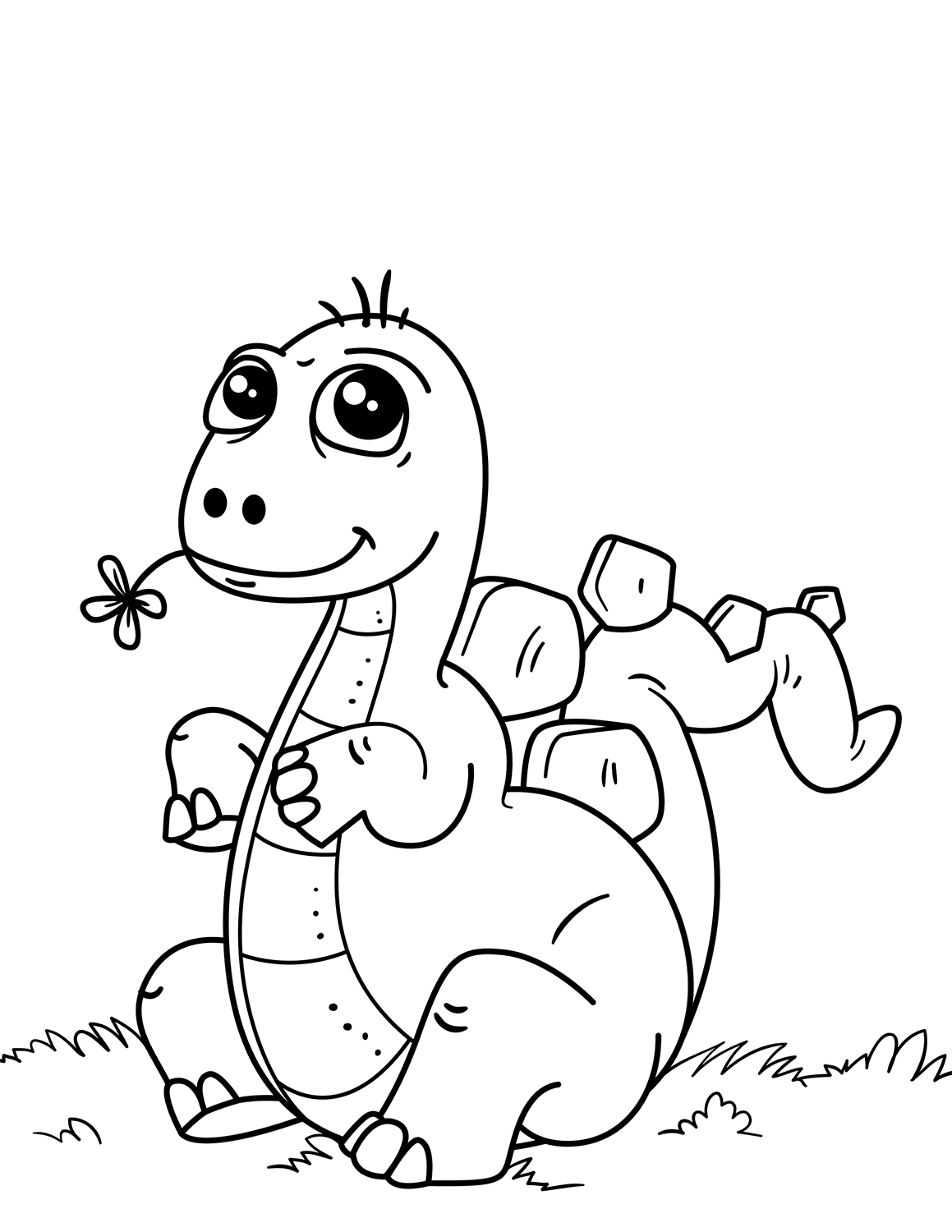 Cute Dinosaur Coloring Page - Free Printable Coloring Pages for Kids