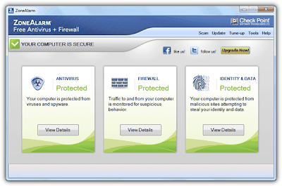 interface de zonealarm antivirus más firewall cortafuegos