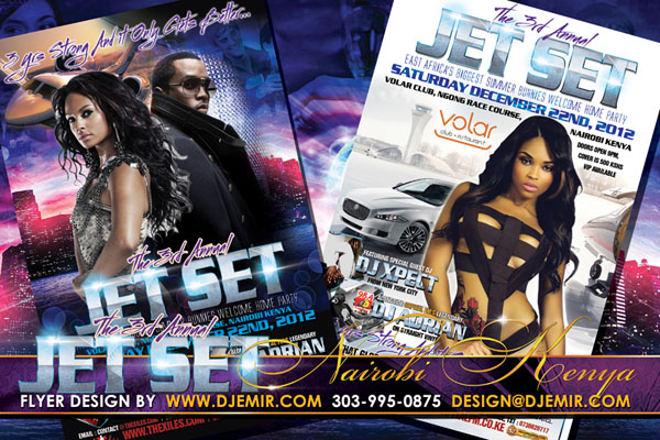 Flyer Design for The Third Annual Jet Set Nairobi Kenya Party