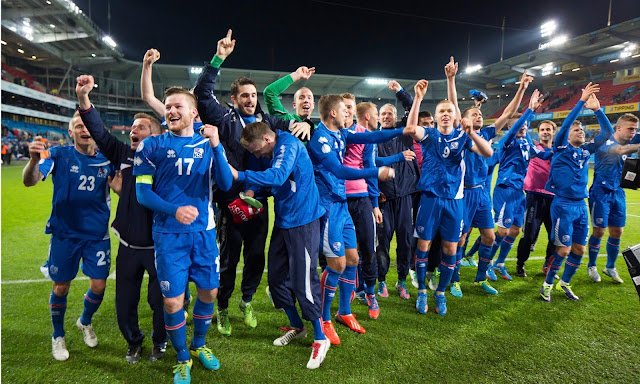 Iceland players celebrate world cup