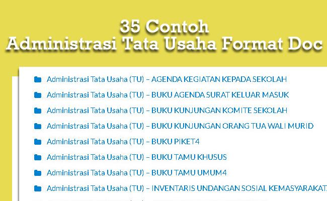 35 Contoh Administrasi Tata Usaha Format Doc