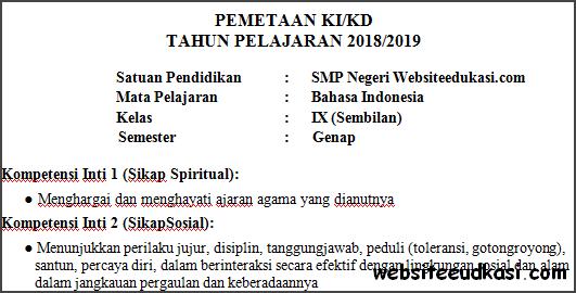 Pemetaan Ki Kd Bahasa Indonesia Kelas 9 Semester 2 K13 Websiteedukasi Com