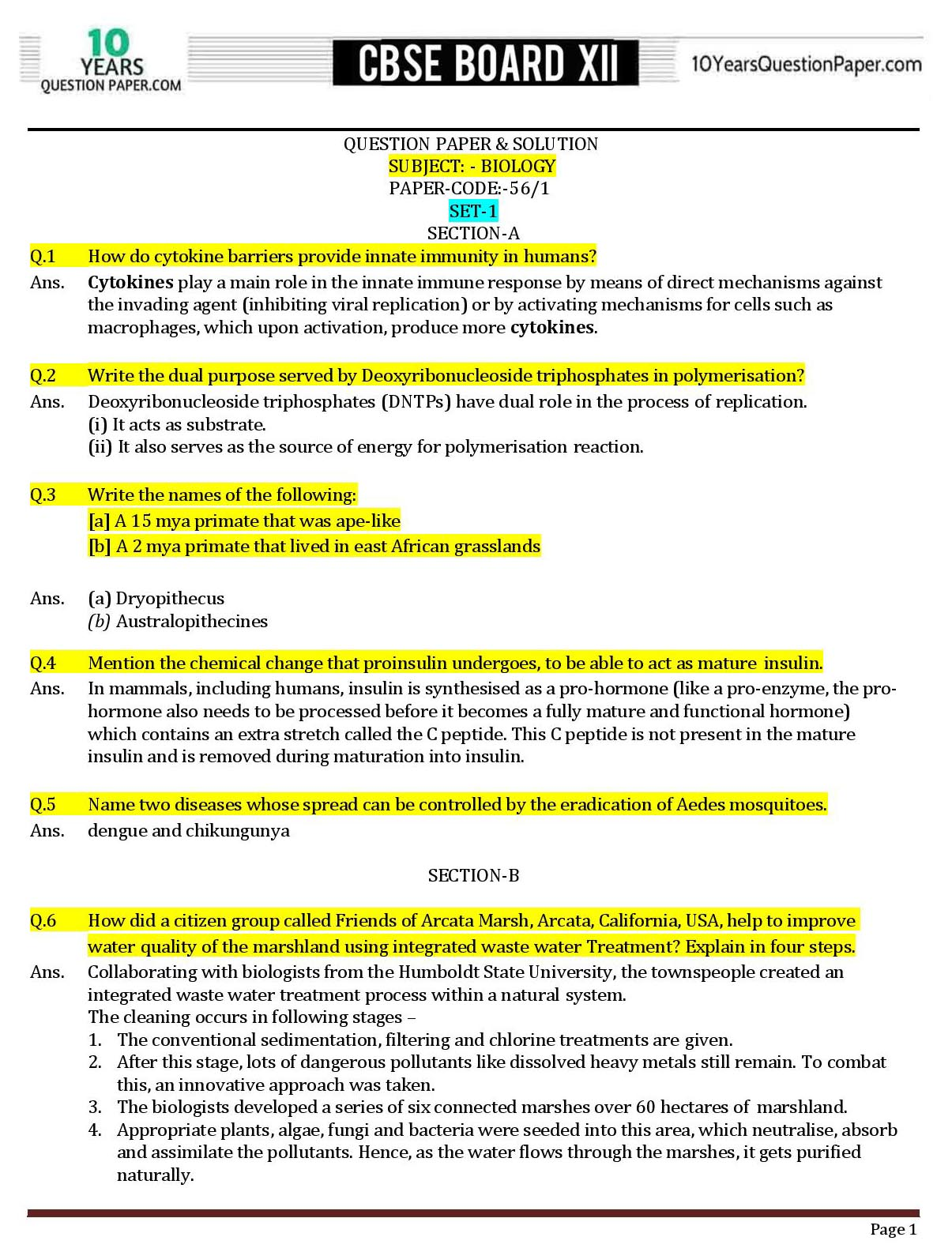 Biology solved paper for CBSE class 12