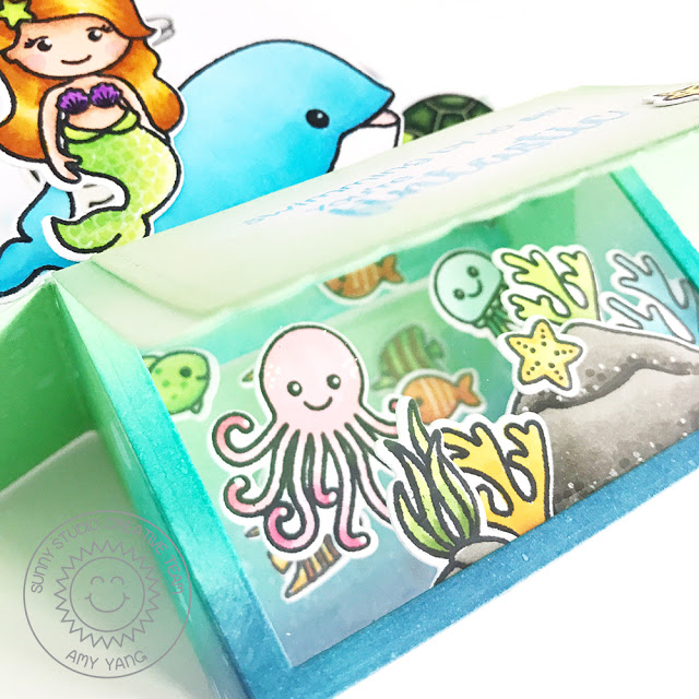 Sunny Studio Stamps: Oceans Of Joy & Magical Mermaids Pop-Up Box Card by Amy Yang