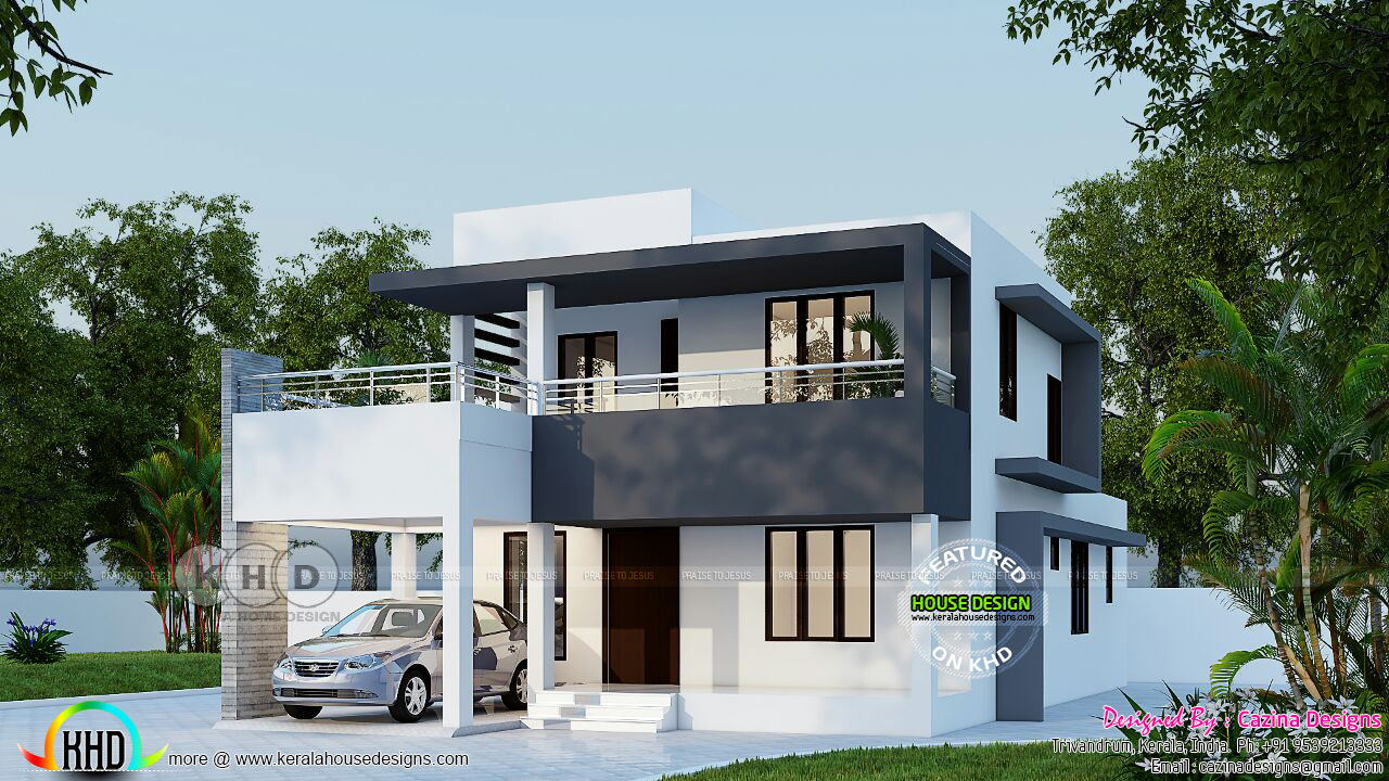 2400 Square Feet Flat Roof 4 Bedroom House Kerala Home