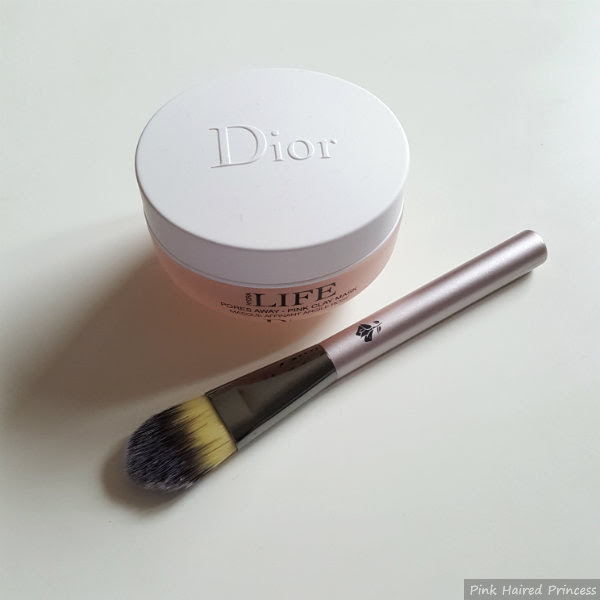 Dior Hydra Life Pores Away pink clay mask and lancome foundation brush