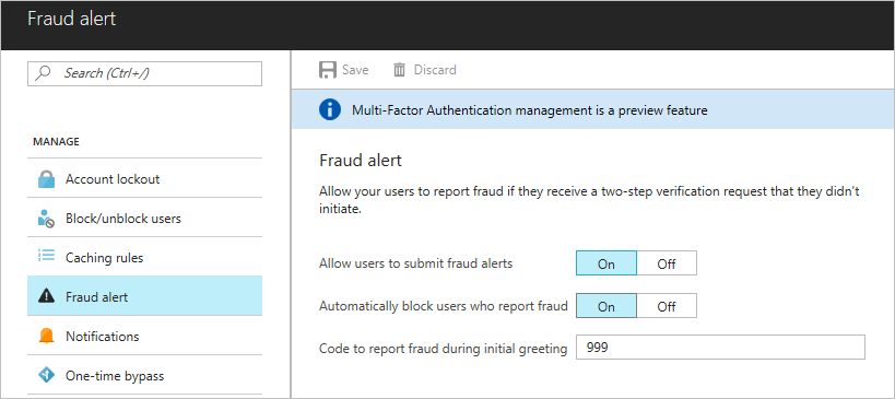 Turn on fraud alerts in O365 MFA - An Additional security