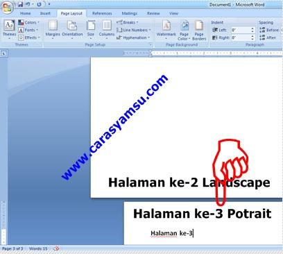 Halaman Landscape dan Potrait pada Ms Word