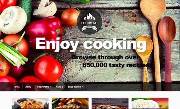 Demonstração Template para Blogs de Culinária FoodMag Responsivo 2018
