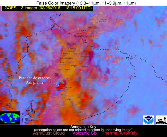 Cendres du volcan Tungurahua vues par satellite;  26 février 2016