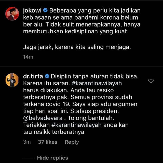 dr. Tirta ke Jokowi