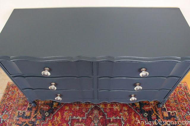 Navy Blue French Provincial Dresser Crystal Knobs