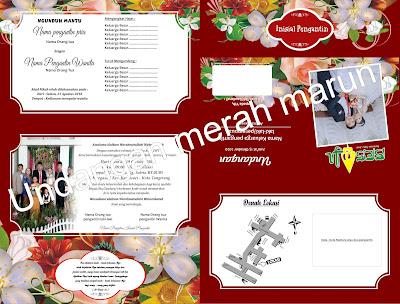 Contoh Desain Undangan Pernikahan Full Colour Merah Marun ...