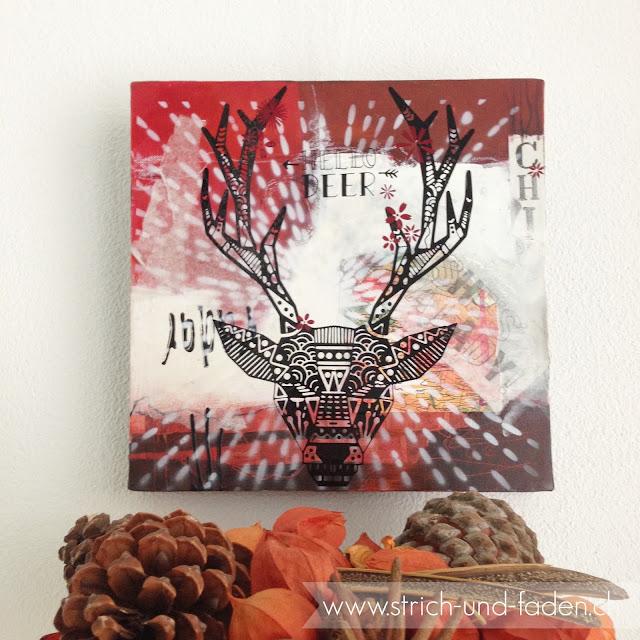 mit Strich und Faden: Hello Deer |Hirsch auf Leinwand |Acrylbild
