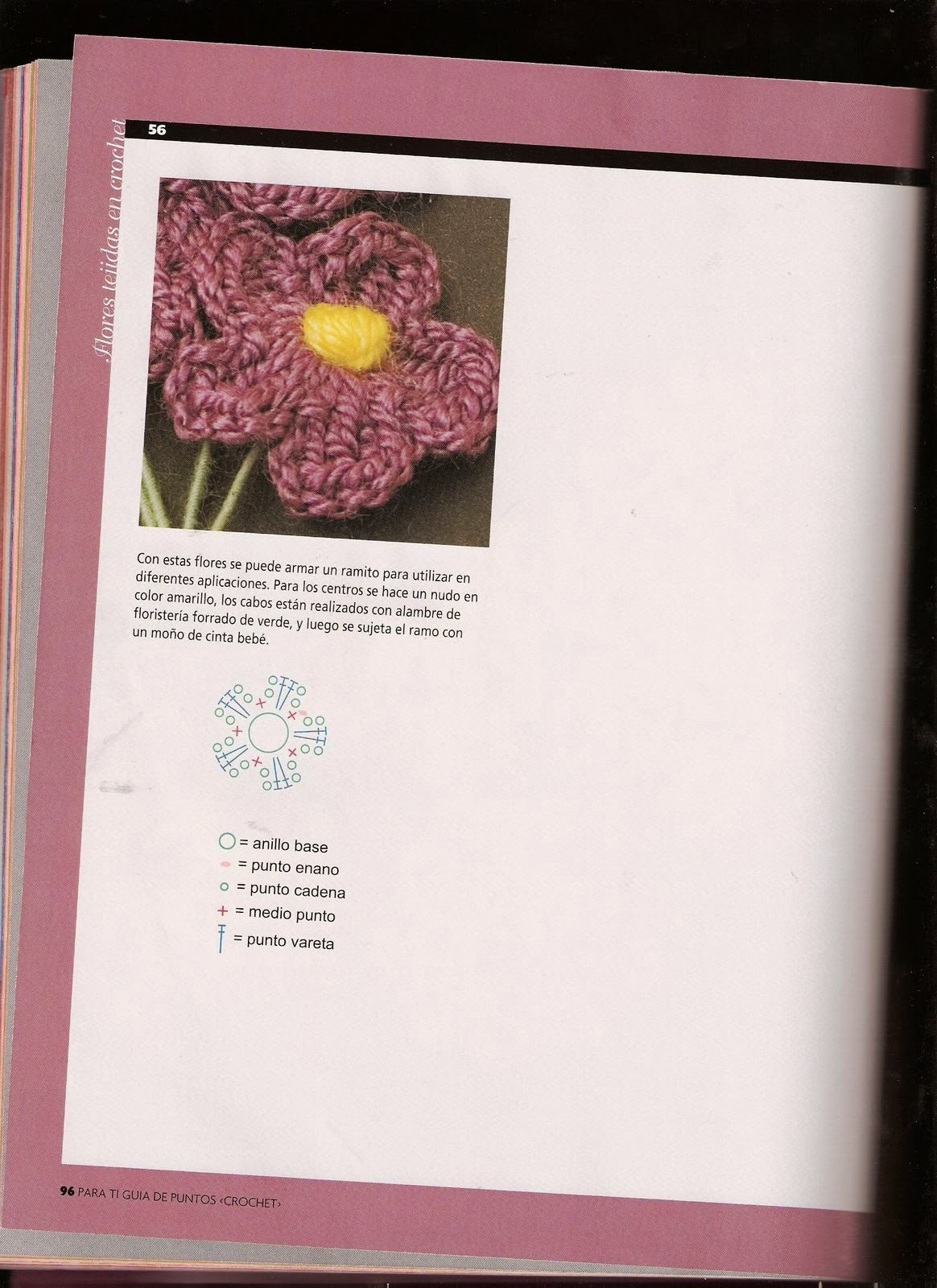 Flores en crochet con diagramas - Revistas de manualidades Gratis