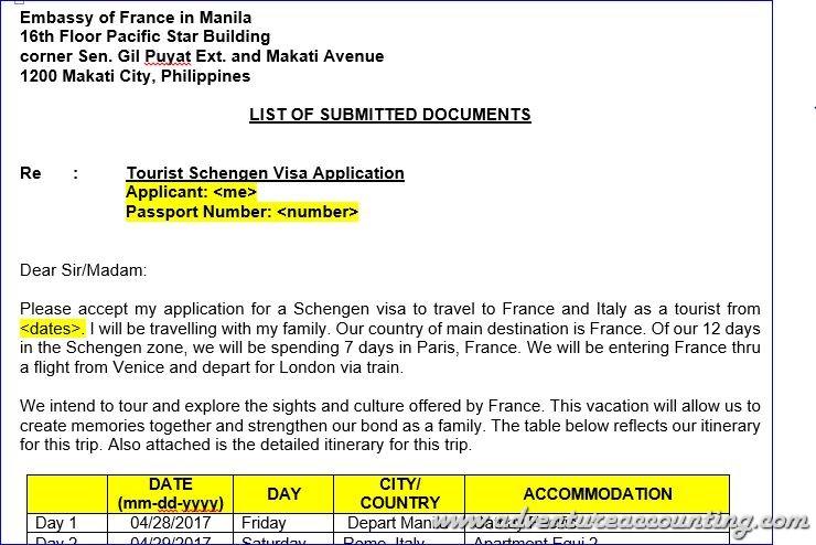 Schengen Visa Application via the French Embassy