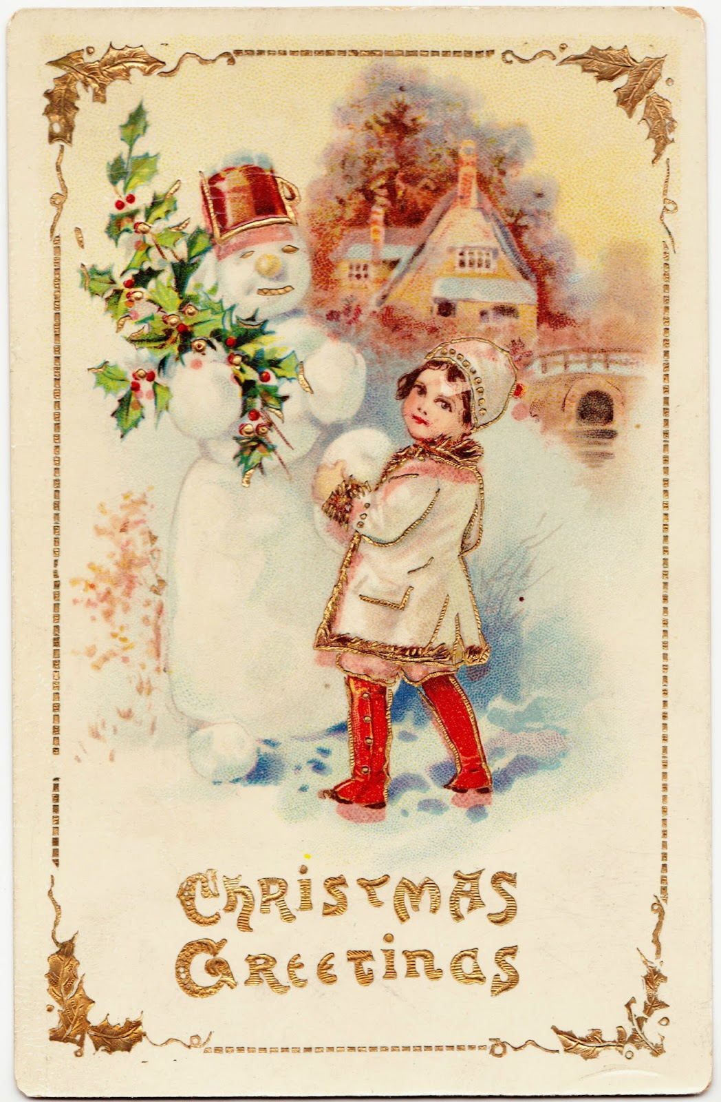 Papergreat vintage christmas greetings featuring a holly jolly this vintage christmas postcard features a cute little girl with knee high red boots hanging out with an snowman who has a branch of holly and hat that kristyandbryce Images