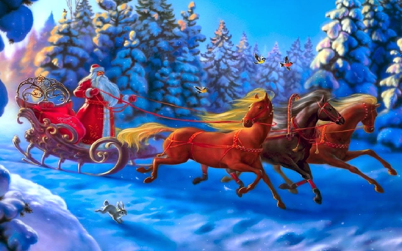 Santa claus coming to town riding his reindeer sleigh flying in santa riding horse in snow background cartoon drawing voltagebd Image collections