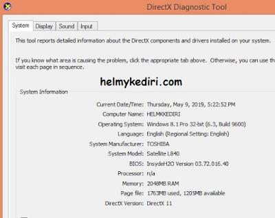 Mengetahui spesifikasi laptop melalui dxdiag