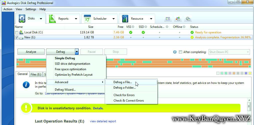 Auslogics Disk Defrag PRO v4.9.6.0 Full Key, Phần mềm chống phân mảnh và tối ưu hệ thống máy tính.
