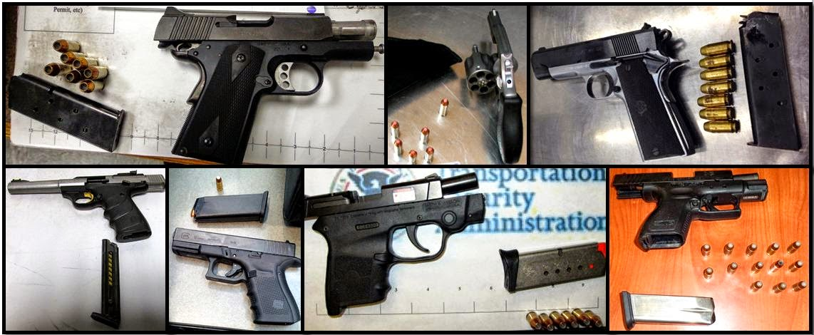(Clockwise From Top Left) Firearms Discovered at MEM, LBB, SFO, ATL, ONT, BHM, SHV