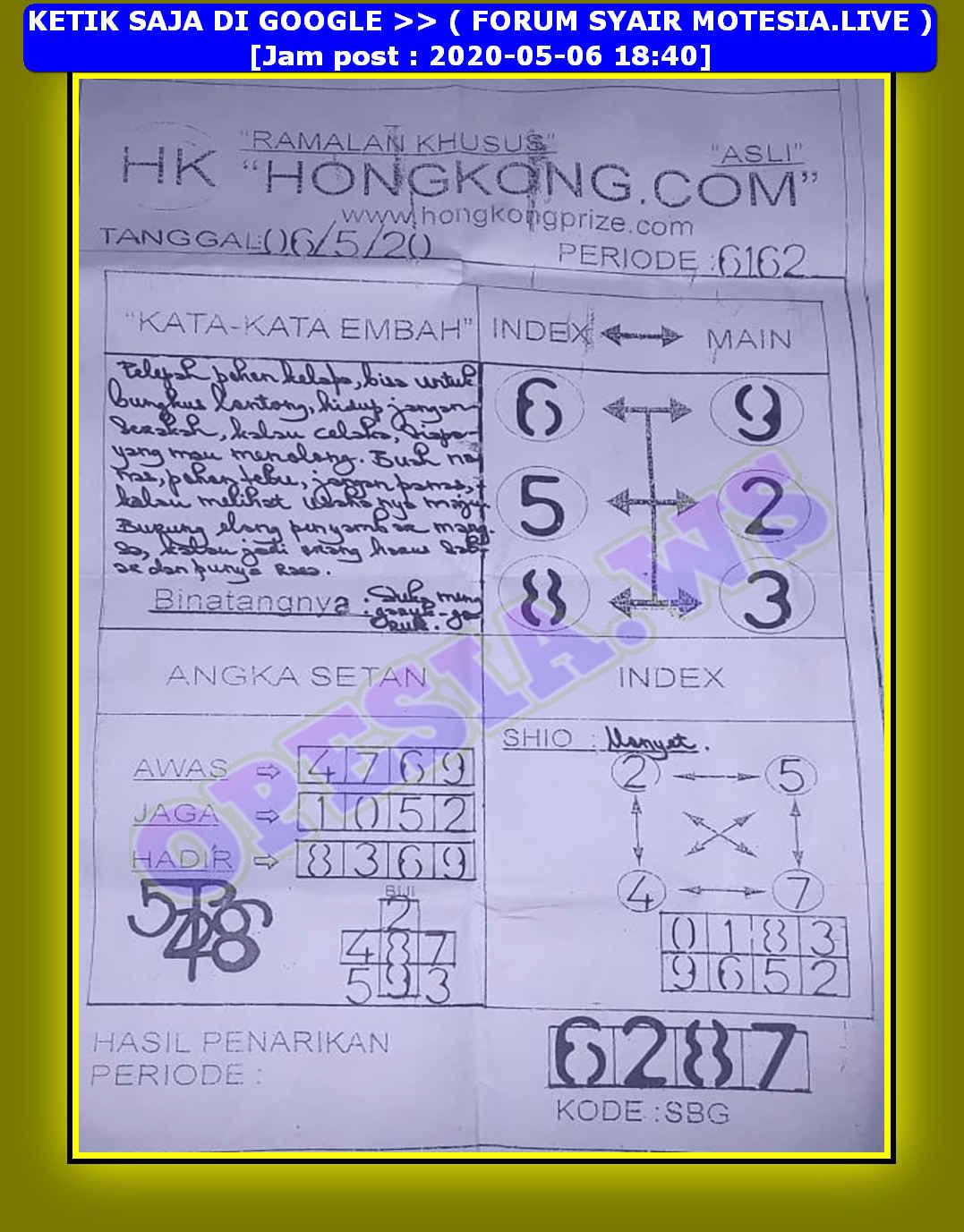 Kode syair Hongkong Rabu 6 Mei 2020 30