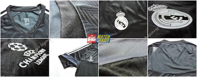 Detail Baju Bola atau Kaos Bola Latihan real Madrid Hitam Official UEFA Champions Lague 2015