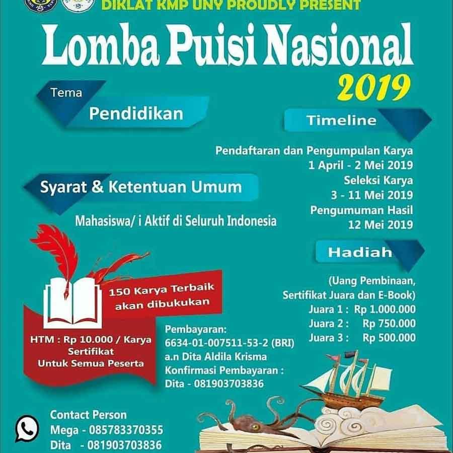 Lomba Puisi Nasional Mahasiswa KMP UNY 2019