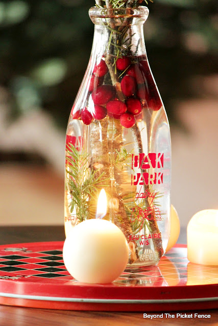 use an old milk bottle for a simple centerpiece