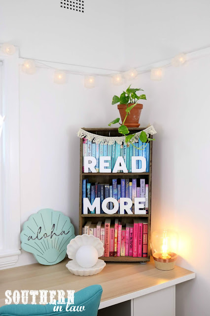 Handmade Pallet Wood Bookshelf DIY with Colour Coordinated Books and Mermaid Decor Accessories