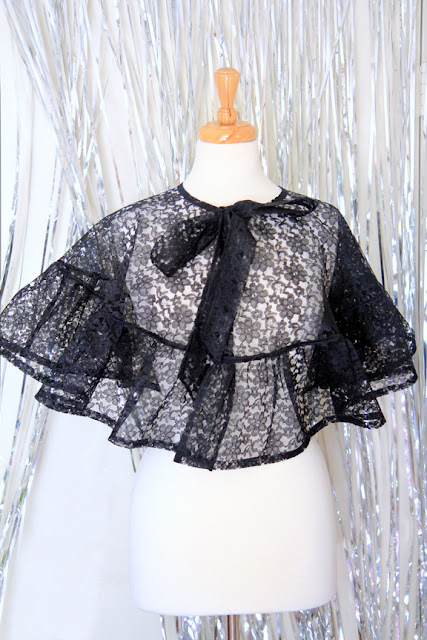 Victorian Style Black Lace Cape by Mademoiselle Mermaid.