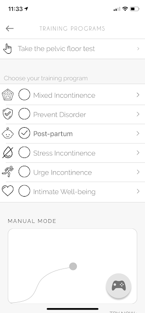 Screenshot of menu options showing the Perifit training programs