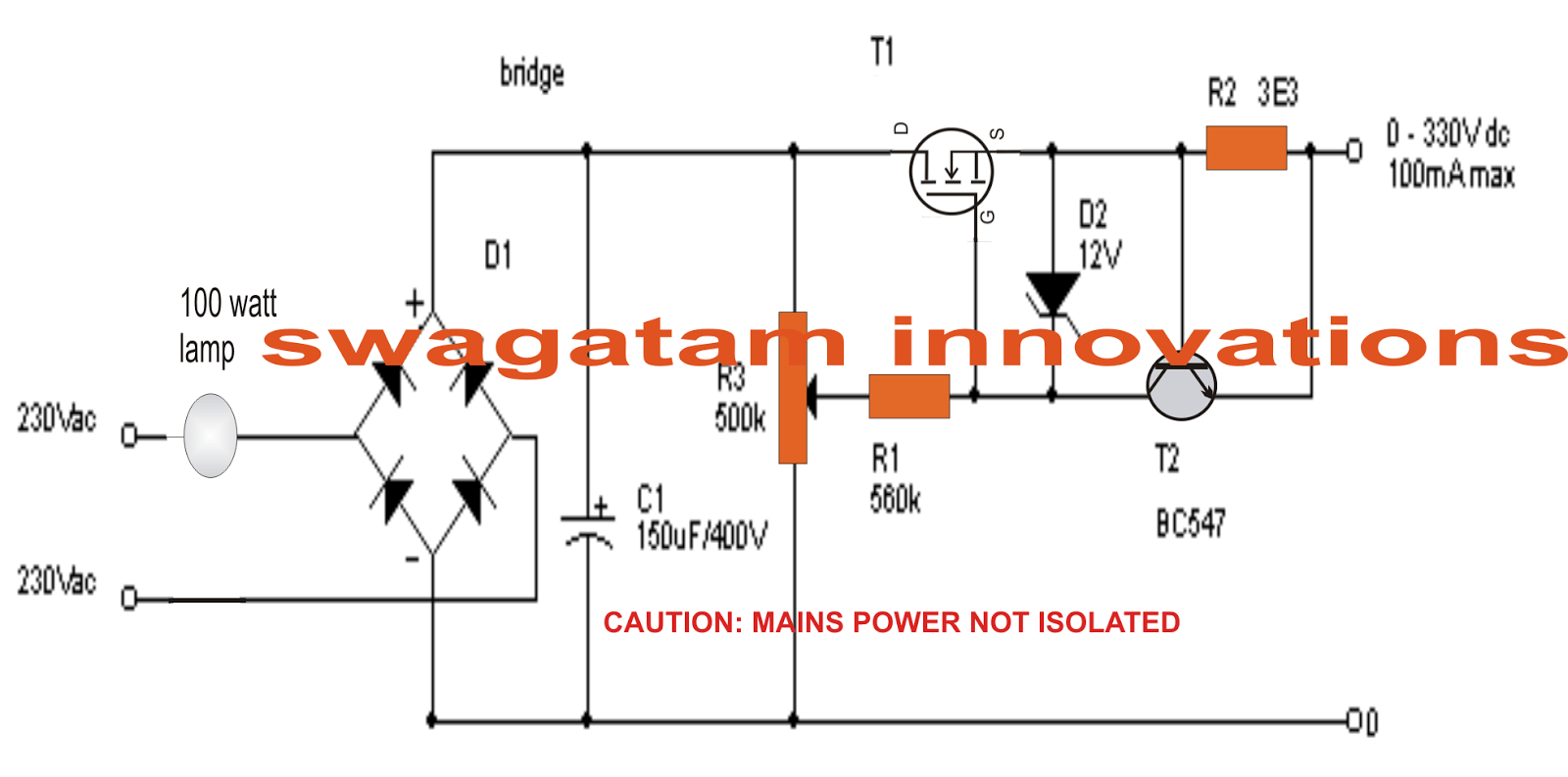 Laser Voltage Regulator Circuit Wiring Diagram Master Blogs 7805voltageregulator Lm7805 0 300v Variable Current Transformerless Power Simple Schematic