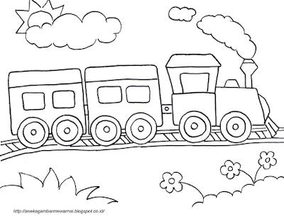 Gambar Mewarnai Kereta Api 1