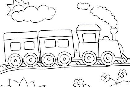 Gambar Mewarnai Kereta Api Kartun