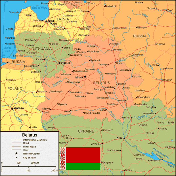 atau lebih tepatnya di Eropa Timur dengan ibukota Minsk Peta Negara Belarusia (Belarus) Lengkap dengan Kota, Sumber Daya Alam, Batas Wilayah dan Keterangan Gambar Lainnya