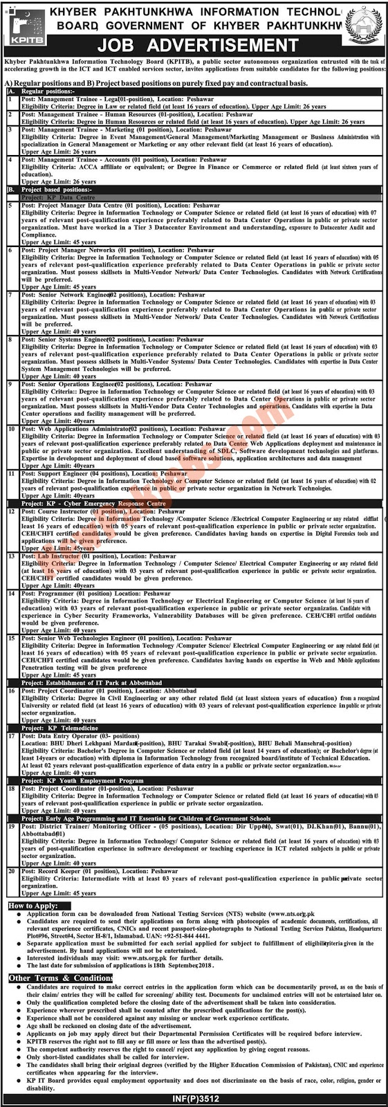 NTS Latest jobs in KPK  Information Technology Board 2018