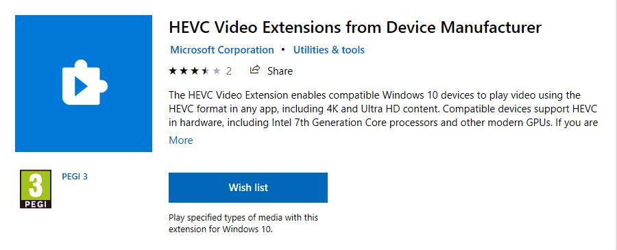 Open the HEVC Windows 10 format