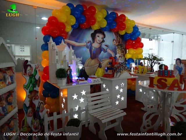 Decoração de mesa temática Branca de Neve - Festa de aniversário infantil