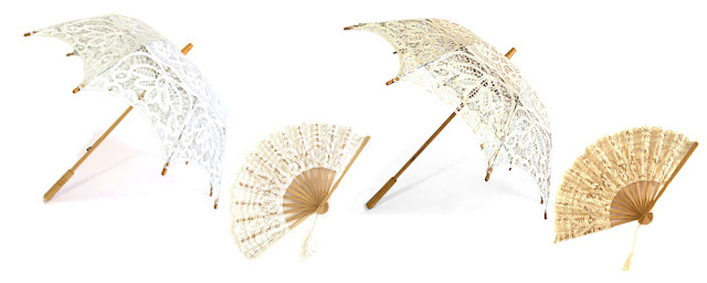 lace umbrellas and lace fans available from Canadian packaging and wedding supply retailer Creative Bag
