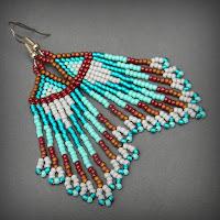 Купить украшения из бисера необычные этно-серьги ручной работы