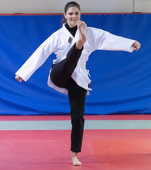 Crown Princess Victoria attended Karate training at Youth Activity House in Angeholm