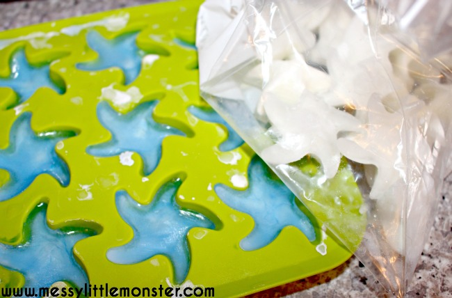 Frozen oobleck. A simple recipe using 2 ingredients.  Science experiments for kids