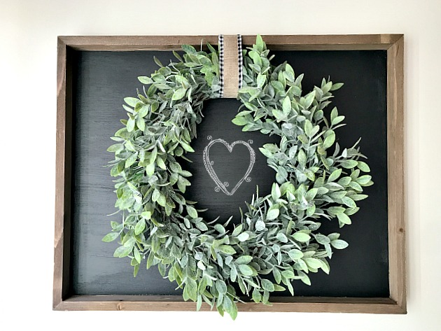 Valentine's day wreath and chalkboard art. Homeroad.net