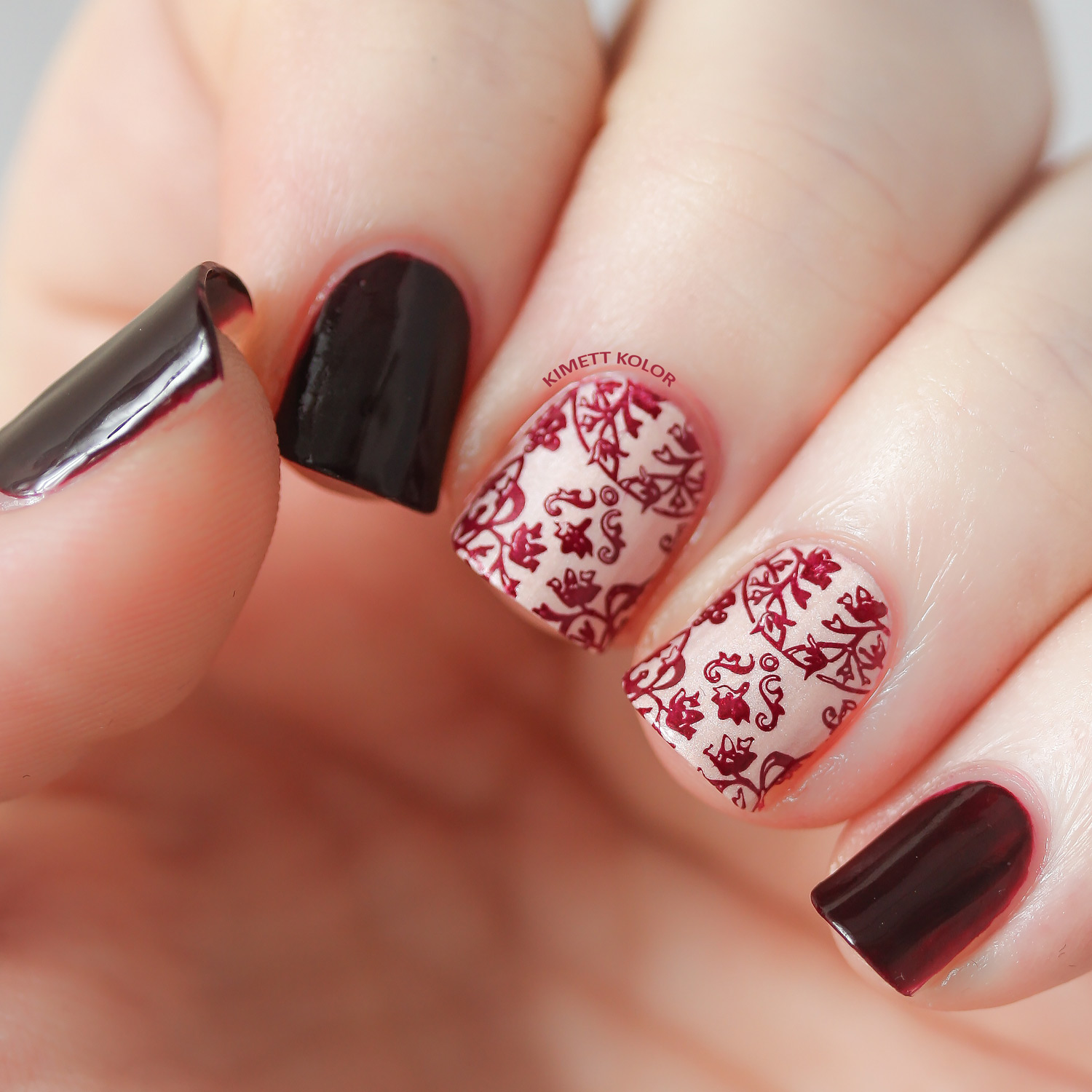 Garnet and Carnation January Nail Art by KimettKolor