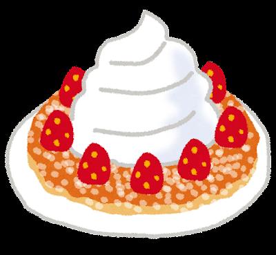 ホットケーキ・パンケーキのイラスト「苺と生クリーム乗せ」