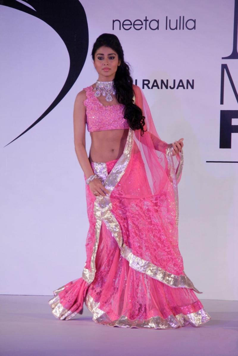 Shriya on the ramp in pink saree